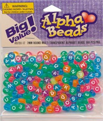 Alfabet beads 7 mm.trans.mult.160s
