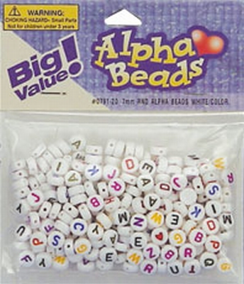 Alfabet beads 7mm white/color