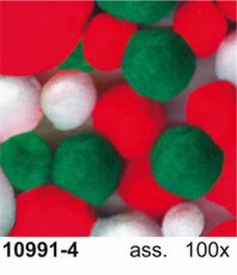 Pompon assorti kerstkleuren 100x