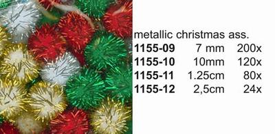 Pompon metalic kerst 2.5 cm 24 st