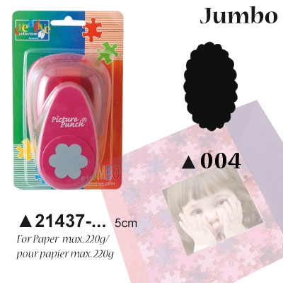 Picture Punch Jumbo 5 cm Label ovaal gekarteld