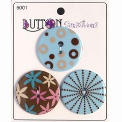 Button Sensations 3x Simple blue 3,4 cm