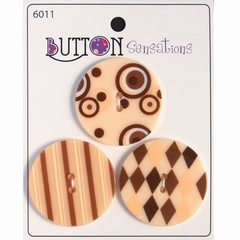 Button Sensations 3x Natural 3,4 cm