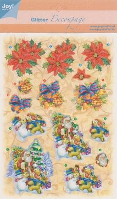Glitter Decoupage kerst nr.1