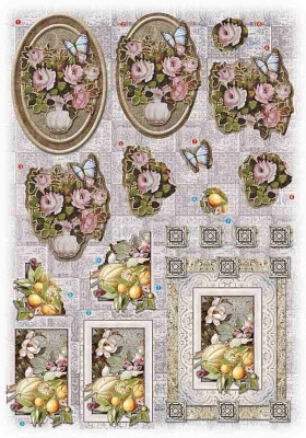 Glitter Decoupage bloemen-fruit nr.2