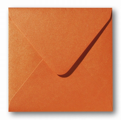 10 Envelop 14x14 cm Metallic Orange Glow