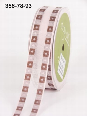 PINK/BROWN Solid Band Edge / Square Print 22 mm