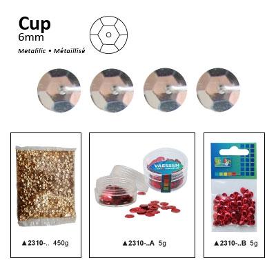 Pailletten cup metallic 6mm 5g +/-500x zakje zilver