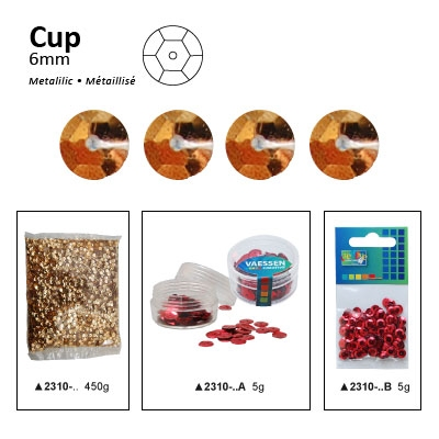 Pailletten cup metallic 6mm 5g +/-500x zakje antiekgoud