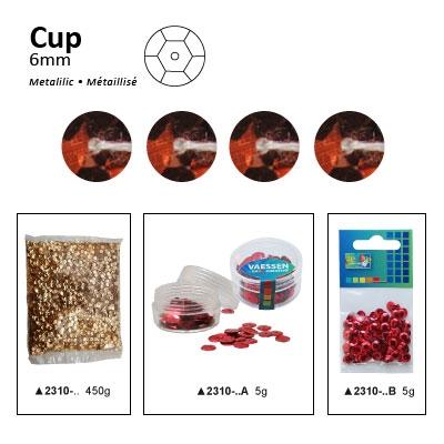Pailletten cup metallic 6mm 5g +/-500x zakje koper
