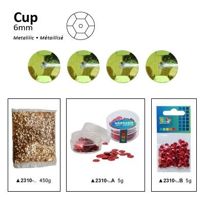 Pailletten cup metallic 6mm 5g +/-500x zakje lichtgroen