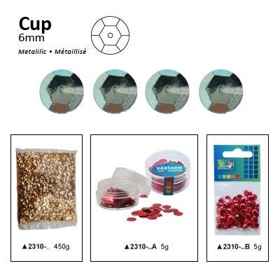Pailletten cup metallic 6mm 5g +/-500x zakje l.groen-blauw