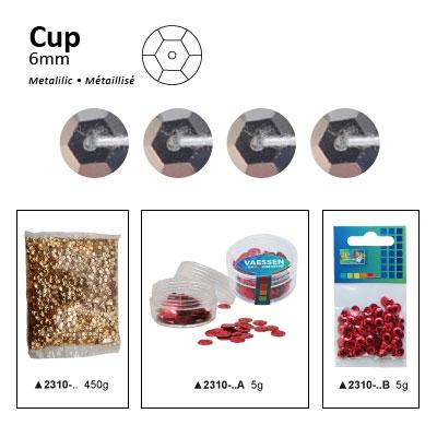 Pailletten cup metallic 6mm 5g +/-500x zakje donker zilver