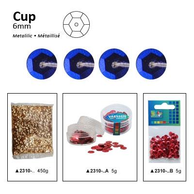 Pailletten cup metallic 6mm 5g +/-500x zakje blauw-paars