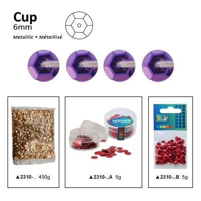 Pailletten cup metallic 6mm 5g +/-500x zakje lila
