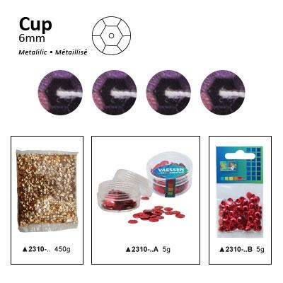 Pailletten cup metallic 6mm 5g +/-500x zakje donkerpaars