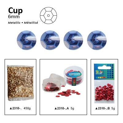 Pailletten cup metallic 6mm 5g +/-500x zakje licht lila