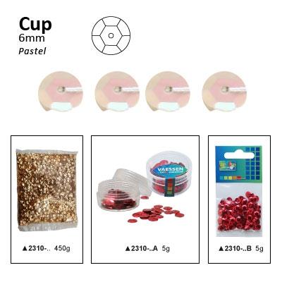 Pailletten cup pastel 6mm 5g +/-500x zakje ecru-roze