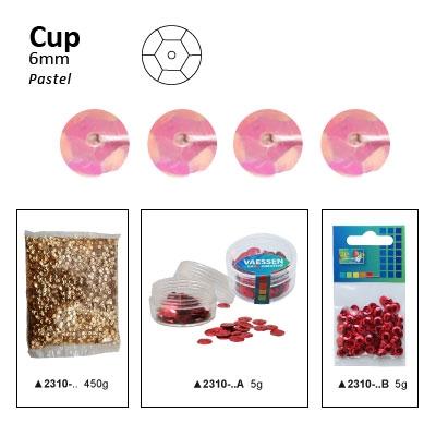 Pailletten cup pastel 6mm 5g +/-500x zakje roze