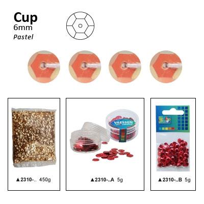 Pailletten cup pastel 6mm 5g +/-500x zakje abrikoos