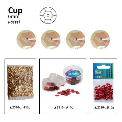Pailletten cup pastel 6mm 5g +/-500x zakje licht abrikoos