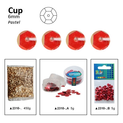 Pailletten cup pastel 6mm 5g +/-500x zakje oranje