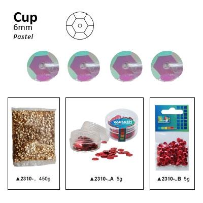 Pailletten cup pastel 6mm 5g +/-500x zakje lila