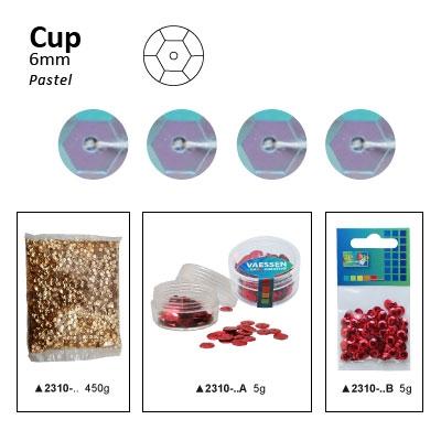 Pailletten cup pastel 6mm 5g +/-500x zakje licht lila