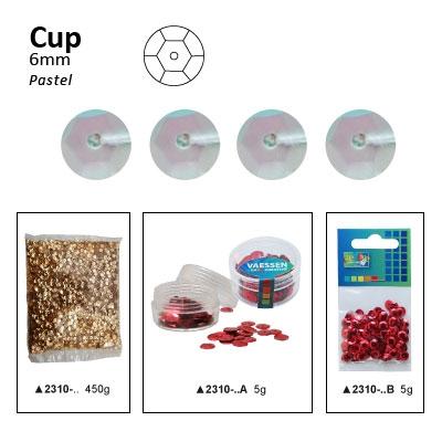 Pailletten cup pastel 6mm 5g +/-500x zakje wit-lila