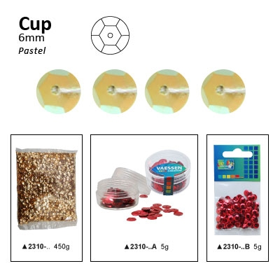 Pailletten cup pastel 6mm 5g +/-500x zakje geel