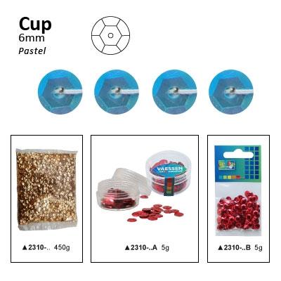 Pailletten cup pastel 6mm 5g +/-500x zakje blauw