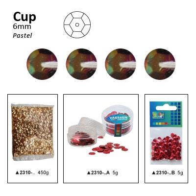 Pailletten cup pastel 6mm 5g +/-500x zakje zwart