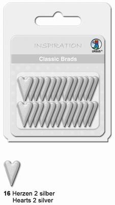 URSUS Classic Brads, 26 stuks, Hartjes 2 Zilver