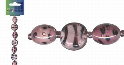 Beadchain rond/ovaal 17 cm. oudroze
