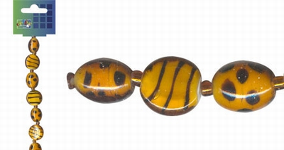 Beadchain rond/ovaal 17 cm. oranje