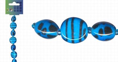 Beadchain rond/ovaal 17 cm. blauw