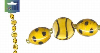 Beadchain rond/ovaal 17 cm. d.geel