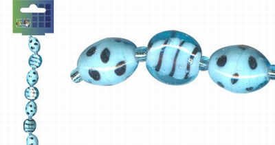 Beadchain rond/ovaal 17 cm. l.turquoise