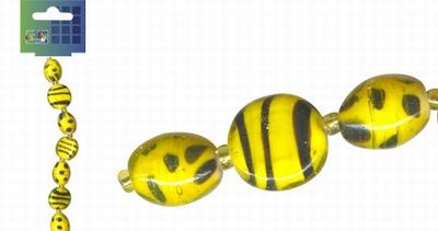 Beadchain rond/ovaal 17 cm. geel