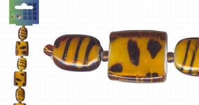 Beadchain vierkant/ovaal 17 cm. oranje