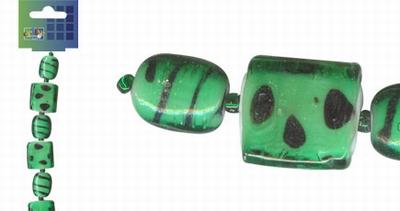 Beadchain vierkant/ovaal 17 cm. d.groen