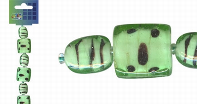 Beadchain vierkant/ovaal 17 cm. mintgroen