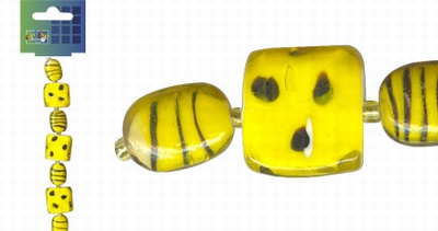 Beadchain vierkant/ovaal 17 cm. geel