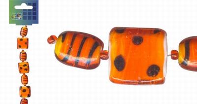 Beadchain vierkant/ovaal 17 cm. oranjerood