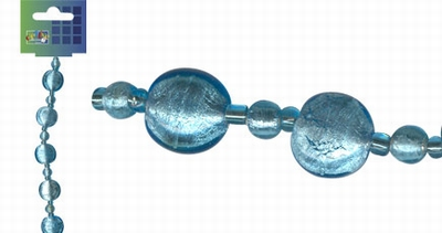 Beadchain rond/rond 17 cm. l.turquoise