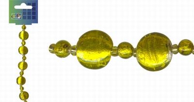 Beadchain rond/rond 17 cm. geel