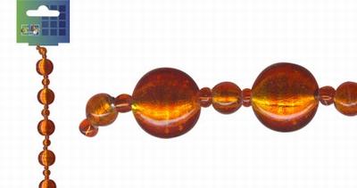 Beadchain rond/rond 17 cm. oranjerood