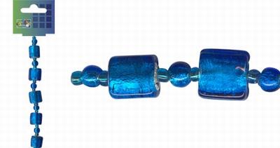 Beadchain vierkant/rond 17 cm. blauw