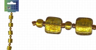 Beadchain vierkant/rond 17 cm. d.geel