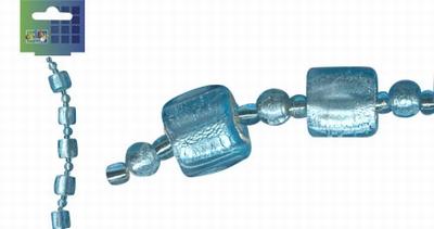 Beadchain vierkant/rond 17 cm. l.turquoise